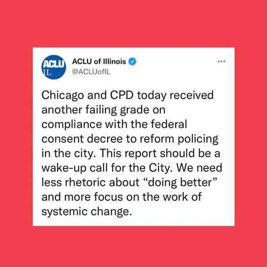 Chicago and CPD today received another failing grade on compliance with the federal consent decree.