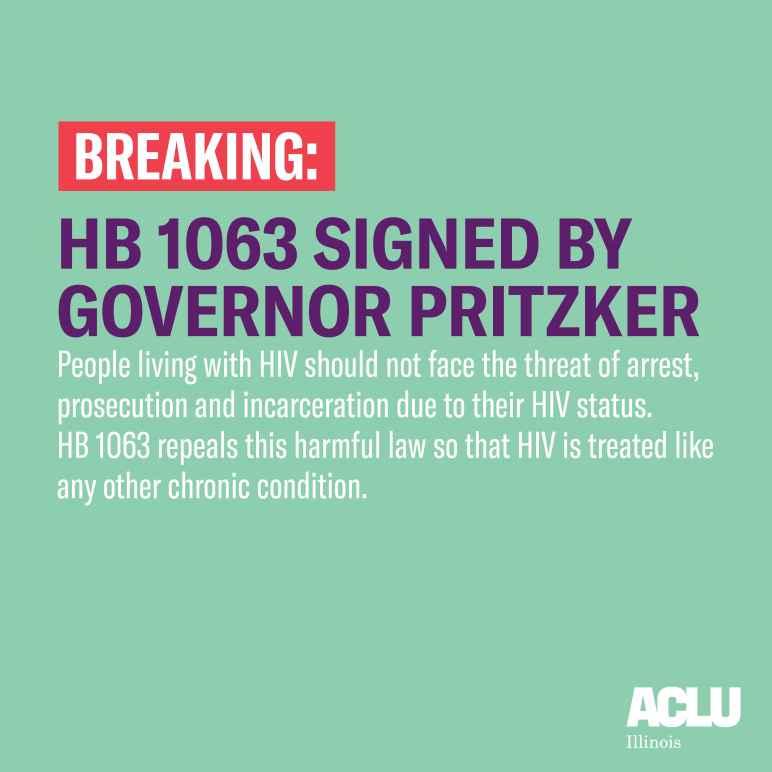 Bill to decriminalize HIV signed by Gov. Pritzker